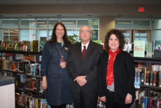 Lisa Osur, Robert D'Angelo and Julie Bader in the Holley school library