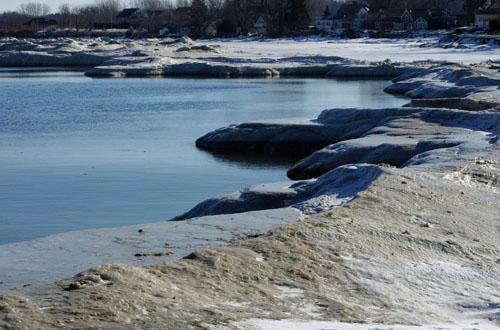 ice at Lake Ontario shore