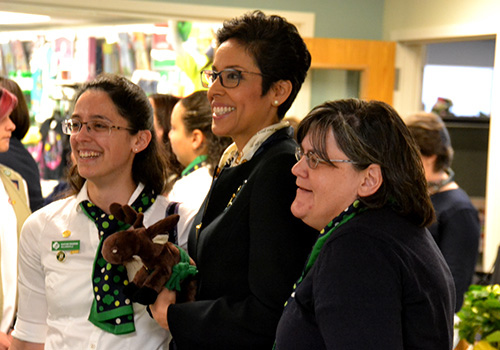 Photos by Tom Rivers - Anna Maria Chavez, CEO of the Girl Scouts of USA, meets with Girl Scouts, volunteers and staff last week at the office in Rochester for Girls Scouts of Western New York. There are 161 Girl Scouts in Orleans County and 37 volunteers.