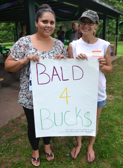 Photo by Tom Rivers: Ashley Dole, left, and Ashley Coville worked together to organize this afternoon's Going Bald for Bucks event at Bullard Park.