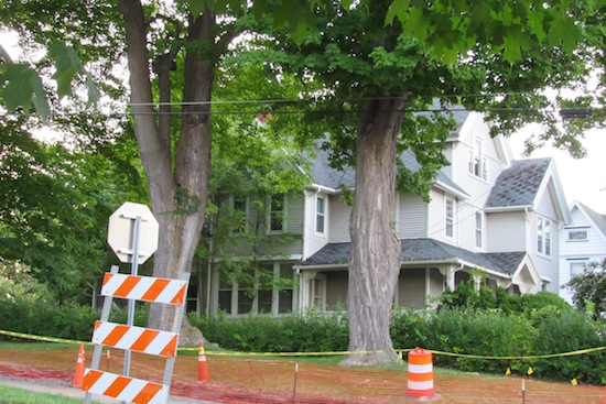 Photo by Kristina Gabalski: One of the homes effected by a leak from Diaz Chemical sits on the northwest corner of the South Main Street/Jackson Street intersection.  During Monday's meeting of the Village of Holley Development Corporation, President Dan Schiavone said the home is appraised at $62,500 with lead clean-up is expected to cost $3,400.