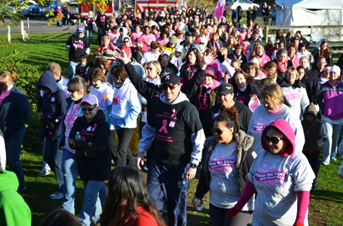 File photos by Tom Rivers The Making Strides Against Breast Cancer Walk at Watt Farms drew big crowds to the farm on Route 98 for a walk through the orchard. This photo is at the beginning of the walk in October 2013.
