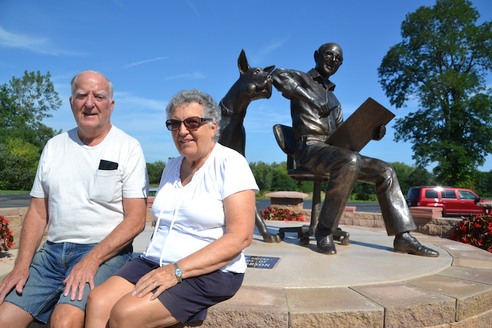 Charles and Barbara Krauth are pleased to see the statues of Marmaduke and Brad Anderson in their community.