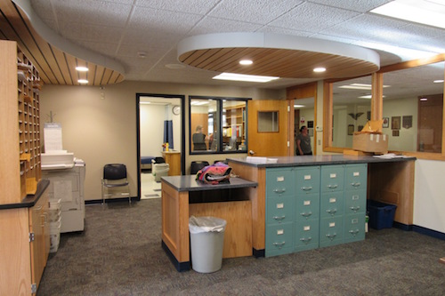 "The newly renovated Jr./Sr. High School Main Office has a clean and modern look.  ""It's very nice, staff member Rhonda Oliver said.  ""I love coming to work."""