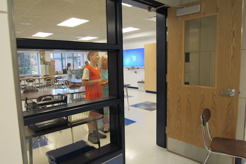 Doorways to science rooms now feature clear-glass windows.