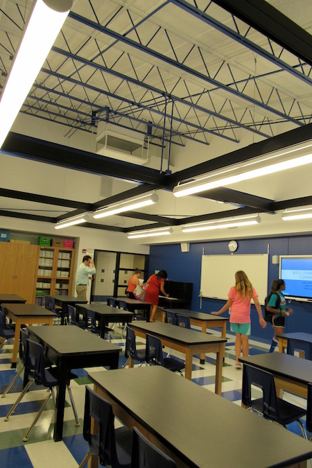 Classrooms in the renovated science wing are spacious with vaulted ceilings and exposed beams.