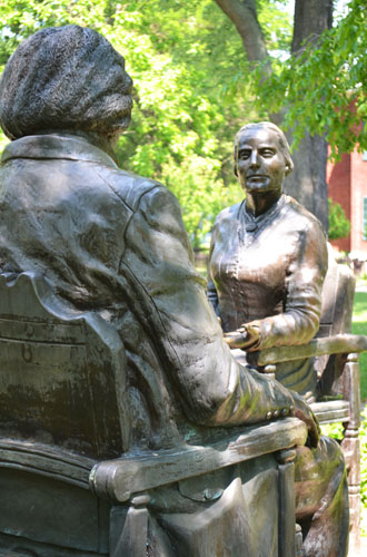 File photo by Tom Rivers: Susan B. Anthony is depicted in this statue down the street from the Susan B. Anthony House on Madison Street in Rochester.