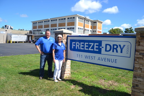 Matt Beadle, plant manager, and Karen Richardson, co-owner and president, are pictured outside the Freeze-Dry plant in Albion that has a long history of food production, from Lipton's to Ontario Foods and now Freeze-Dry.