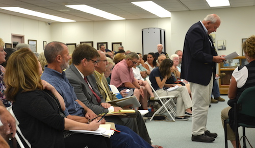 David Mahar, president of Frontier Stone LLC, said Frontier has worked for a decade with consultants and the DEC to ensure a proposed quarry would be a benefit to the refuge and community. Mahar spoke during Wednesday's public hearing at Shelby Town Hall.