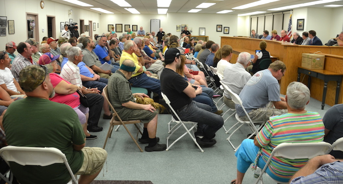Town Hall was crowded for Wednesday's public hearing about an proposed overlay district to restrict quarries and other land uses near the wildlife refuge.