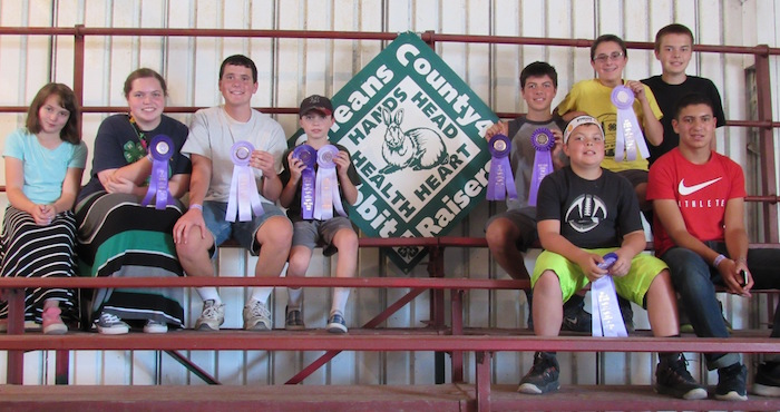 Members of the Orleans County 4-H Rabbit Raisers Club participated in the New York State Fair Rabbit Show and Rabbit Knowledge Decathlon Labor Day Weekend. 4-Hers from 13 counties around the state took park in the Knowledge Decathlon on Sept. 4. The Orleans County Sr. Team took first place with Amelia Sidonio, Peggy-Jo Gabalski and Rachel Gregoire. Photo: left to right in back: Joan-Marie Gabalski, Peggy-Jo Gabalski, John Gabalski, Hugh Gabalski, all of Byron, Brian Shaw of Kendall, Zach Albright of Elba, Owen Shaw of Kendall. Front row, far right: Nate Shaw of Kendall and Sebastian Zilempe of Middleport.