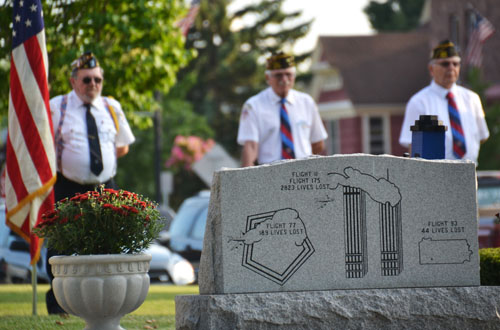 Local veterans were part of the memorial ceremony Sept. 11, 2015 outside the Orleans County Courthouse by the 9-11 memorial.