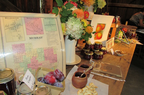Colorful displays at Hurd Orchards featured information about the canning industry in Orleans County, vintage cookbooks, maps andproduce labels.