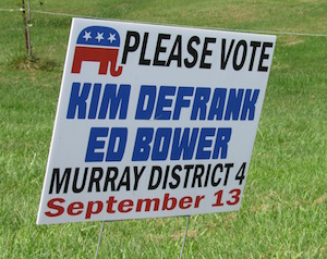 Photos by Kristina Gabalski: Tuesday's primary is a rare event with active public campaigns to serve as committee members on the Murray Town Republican Committee. These signs tout Kimberly DeFrank and Edwin Bower.