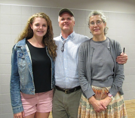Photo by Kristina Gabalski: Joe Sidonio poses with his family Tuesday evening at the Holley Middle School/High School where voting in the Murray District 4 Republican Committee Primary took place. His daughter, Amelia, is on the left and wife, Amy Machamer, is on the right.