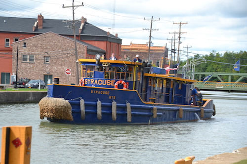 The Tug Syracuse is in Orleans County today for the annual canal inspection. It is pictured in Albion with the Main Street lift bridge in the background.