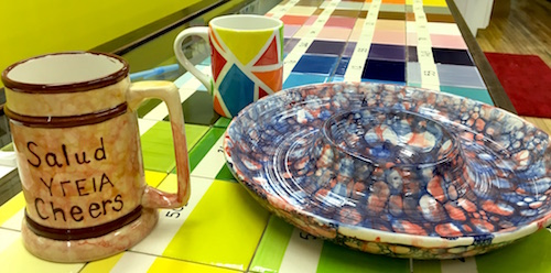 These ceramic creations were decorated using either bubble painting or color blocking techniques. Brushstrokes has classes to help people improve their skills.