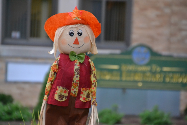 Photo by Tom Rivers: This scarecrow is outside the Kendall Elementary School.