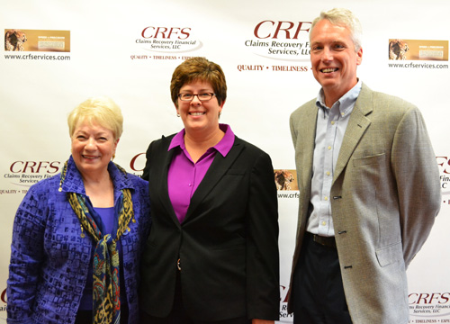Jodi Gaines, center, is chief executive officer and co-owner of CRFS in Albion. She is pictured in September 2013 with Orleans Economic Development Agency officials Gabrielle Barone, left, and Jim Whipple after CRFS announced it would expand in the vacated former Chase building.