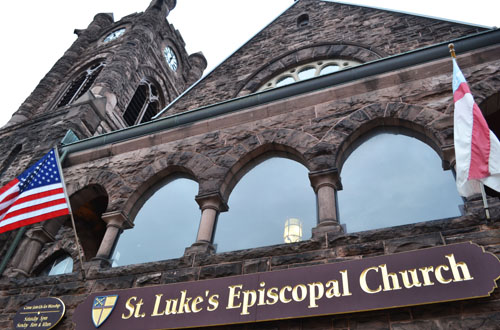 Photos by Tom Rivers: St. Luke's Episcopal Church in Jamestown is a sprawling and towering church edifice constructed from 1892 to 1894. The site includes a tower with a clock on four faces, as well as the city's only chime bells. It is among the past nominees considered for the Medina Sandstone Hall of Fame.