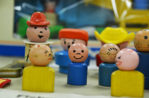 File photo by Tom Rivers: These Little People, which were manufactured when Fisher-Price was in Medina, are pictured as part of a display by the Medina Historical Society in 2014.