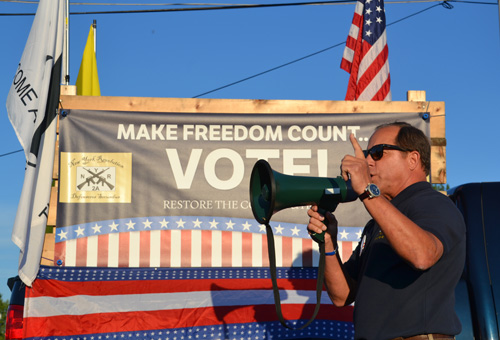 File photo by Tom Rivers: State Assemblyman Steve Hawley speaks at a rally against the SAFE Act in Albion on Sept. 8, 2014.