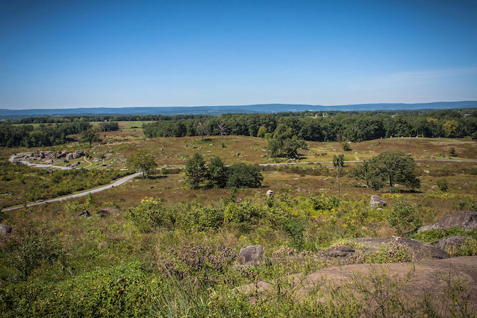 Looking down towards Devil's Den from the summit of Little Round Top. Pvt. Herbert Taylor and the men of the 140th would have experienced this view as they reached the peak of Little Round Top. Without hesitation they advanced upon the Confederates with great fury and bravery.