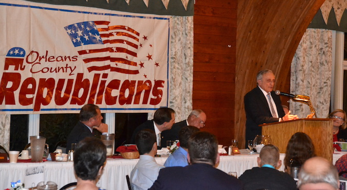 Photos by Tom Rivers: Carl Paladino, right, a former gubernatorial candidate in New York against Andrew Cuomo was the keynote speaker during Thursday night's Orleans County Republican Rally. Paladino is co-chair of Donald Trump's NY campaign.
