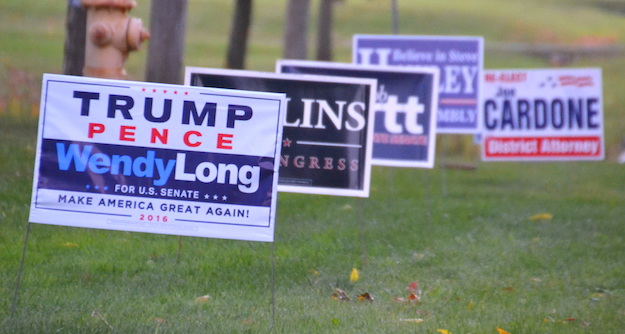 Political signs for Republican candidates were out at Hickory Ridge on Thursday evening for the GOP Rally.