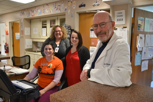 Photos by Tom Rivers: Dr. Richard Elman serves as medical director of the Emergency Room at Medina Memorial Hospital. He is pictured with, from left: Amanda Luckman, secretary of the ER (sitting); MacKenzie Smith, nurse manager and stroke coordinator (in back); and Maria Piotrowski, a registered nurse.