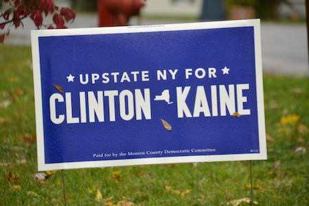 This sign on Allen Road in Albion proclaims support for Hillary Clinton.