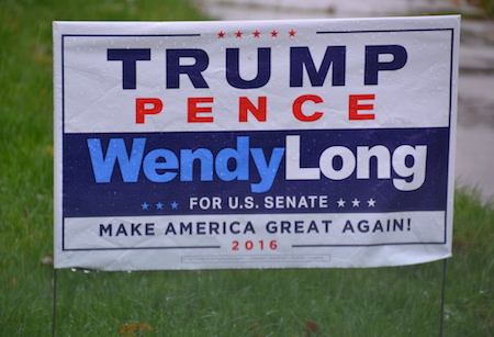Photos by Tom Rivers: An Albion resident on East Avenue has a sign out in support for Donald Trump.