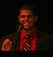 Alex Mounts portrays Gary Johnson, the Libertarian Party candidate.