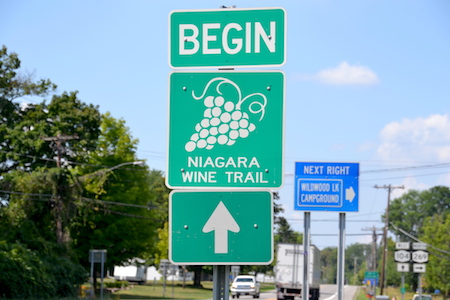 It was a big deal about two years ago when the state allowed the Niagara Wine Trail to extend past Niagara County through Orleans, all the way to near Rochester. The state even provided money for road signs. But the local wineries and Niagara Wine Trail have struggled with getting permits and approvals for the signs. This photo shows the sign on Route 104 near the Niagara-Orleans border.