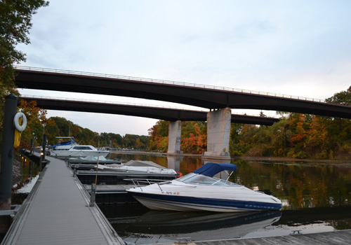 The bridges over Oak Orchard River were built for the Lake Ontario State Parkway, which ends abruptly 2 miles west of the river.