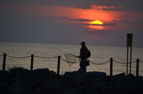 Fishing at Sunset on Lake Ontario