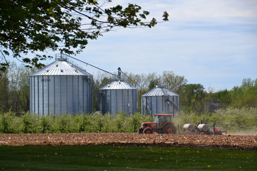 Photo by Tom Rivers: A farmer works a field by an orchard on Route 31 in Ridgeway in May.