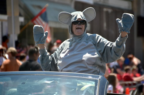 Georgia Thomas of Medina is dressed up as Cobble the Museum Mouse during the Fourth of July parade at Lyndonville.