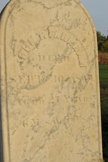This close-up picture shows Farnham's gravestone at the Morton Union Cemetery.