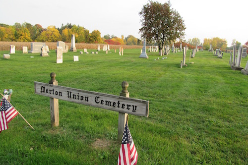Photos by Kristina Gabalski: Morton Union Cemetery is pictured in Kendall.John Farnharm is buried under the mountain ash tree at the center.