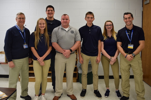 Provided photo: This photo some of the class members in the Security and Law Enforcement class at the Orleans Career and Technical Education Center. Pictured, from left: teacher Gene Newman, Megan Showler (Medina), Salvatore Gioeli (Royalton Hartland), Andrew Steel, Connor Miller (Medina) and Jessica James (Medina) and teacher Steve Browning.