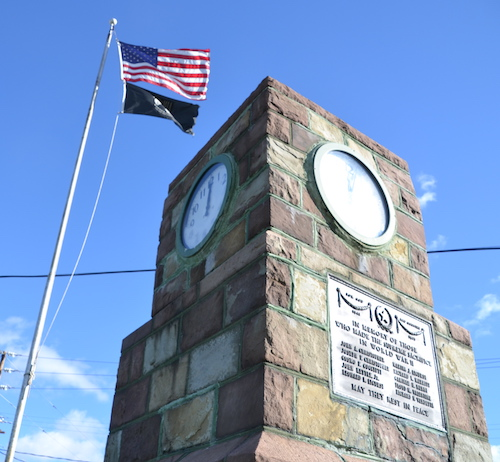 Photos by Tom Rivers: The four-sided Fancher clock, a memorial to 10 soldiers from the Fancher area who died in World War II, is pictured on Friday.