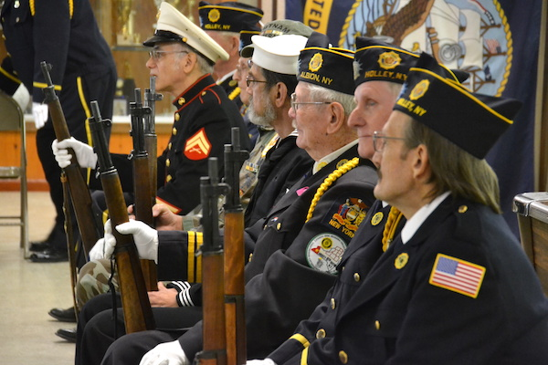 Members of the Honor Guard attended the program in Holley today.