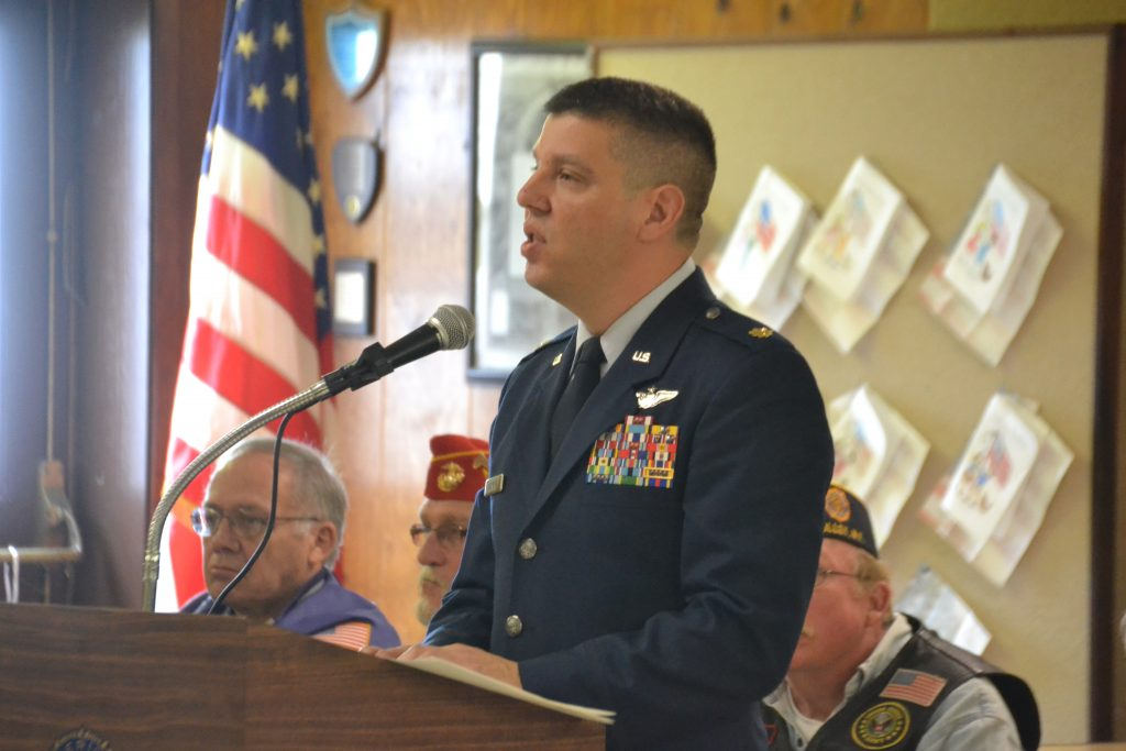 Major Ryan D'Andrea speaks during today's ceremony.