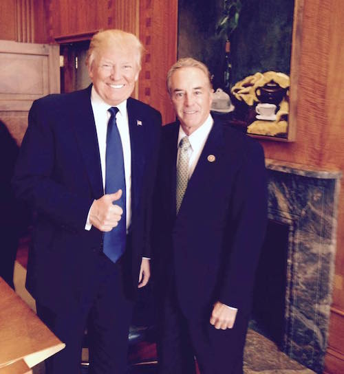 Photo from Chris Collins' Facebook page: Chris Collins posted this photo of himself with Donald Trump on Nov. 8, Election Day, urging people to get out and vote.