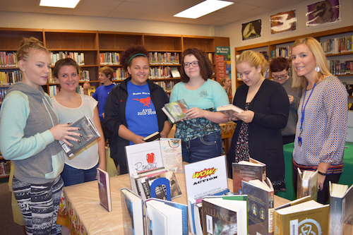 Provided photo: Medina students, from left, include Samantha Barker, Bailey Jackson, Jelia Howard, Hannah Nicholson and Trinitie Andrews. They are pictured with Librarian Jennifer O'Toole, right.