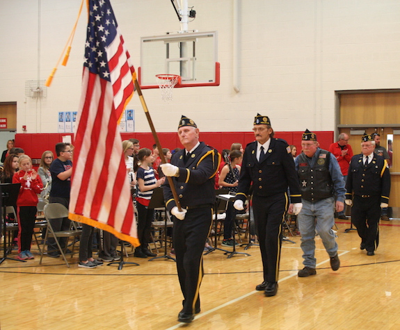 Local veterans begin the flag ceremony at Holley Elementary.