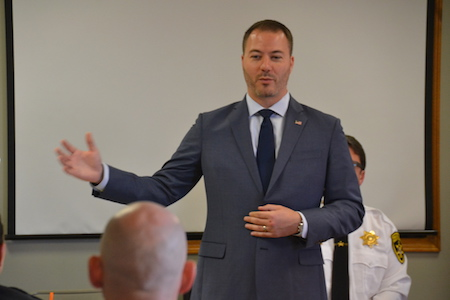 State Sen. Robert Ortt addresses the police officers today. Ortt encouraged all police departments to be trained in responding to people with a mental health crisis.