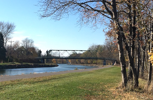 Photo by Tom Rivers: Here is how the Erie Canal looked a few days ago on bright, sunny day. The canal bridge over Brown Road is in back.
