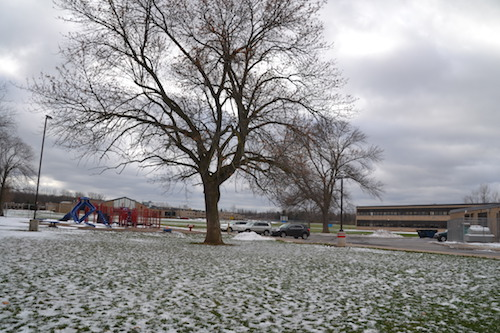 The plan to have a campus access road, linking Oak Orchard and Wise schools, would run where this playground stands by the elementary school. The playground would be removed and a new one put on the other side of the school.